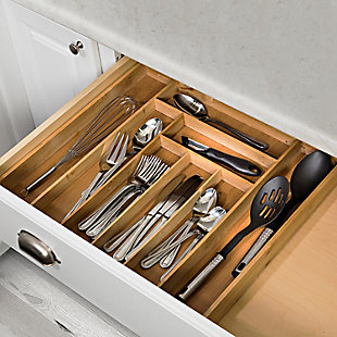 Honey-Can-Do Expandable Large Silverware Drawer Organizer in Bamboo, , rollover