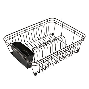 Honey-Can-Do Wire Dish Drying Rack in Chrome With Black Tray, , large