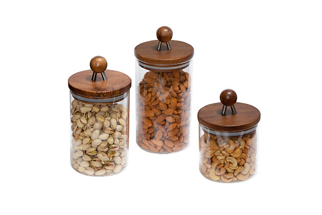 Honey-Can-Do Acacia Canisters (Set of 3), , large