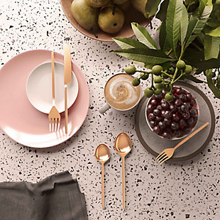 TOV Furniture Stainless Steel Rose Gold 20 pc Flatware Set, Rose Gold, rollover