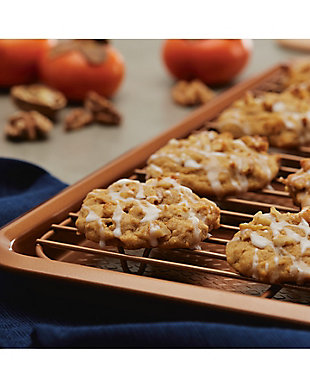 """Ayesha Curry 3-Piece Bakeware Set: 10"""" x 15"""" Cookie Pan w/Cooling Rack & 11"""" x 17"""" Cookie Pan, Copper, , rollover"""