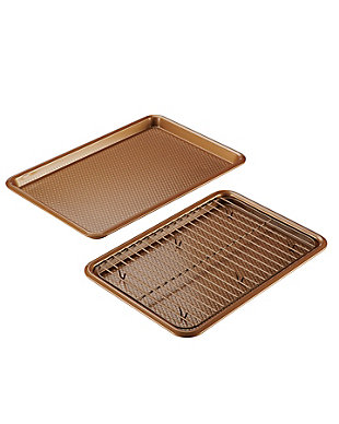 """Ayesha Curry 3-Piece Bakeware Set: 10"""" x 15"""" Cookie Pan w/Cooling Rack & 11"""" x 17"""" Cookie Pan, Copper, , large"""