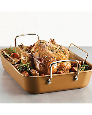 """Ayesha Curry Bakeware 11"""" x 15"""" Roaster w/Convertible Rack, Copper, , rollover"""