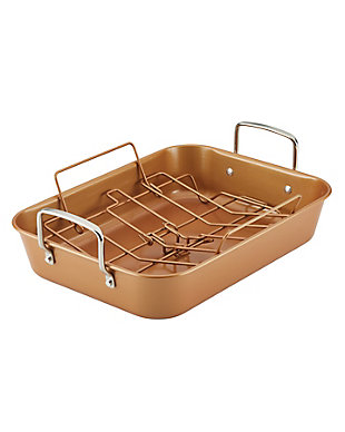 """Ayesha Curry Bakeware 11"""" x 15"""" Roaster w/Convertible Rack, Copper, , large"""