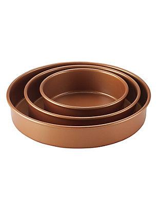 """Ayesha Curry Bakeware 3-Piece Cake Pan Set: 6"""", 8"""", 10"""" Round Cake Pans, Copper, , large"""