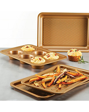 Ayesha Curry Bakeware 4-Piece Toaster Oven Set: 10.25 x 7 Perforated Crisping Cookie Pan, 10.25 x 7 Cookie Pan, 10.25 x 7 Cake Pan, 6 Cup Muffin Pan, , rollover
