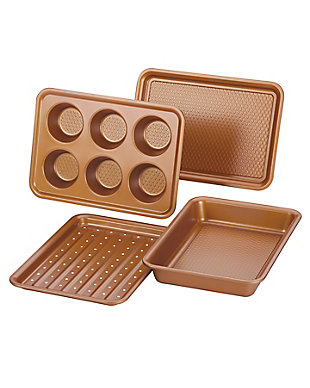 Ayesha Curry Bakeware 4-Piece Toaster Oven Set: 10.25 x 7 Perforated Crisping Cookie Pan, 10.25 x 7 Cookie Pan, 10.25 x 7 Cake Pan, 6 Cup Muffin Pan, , large