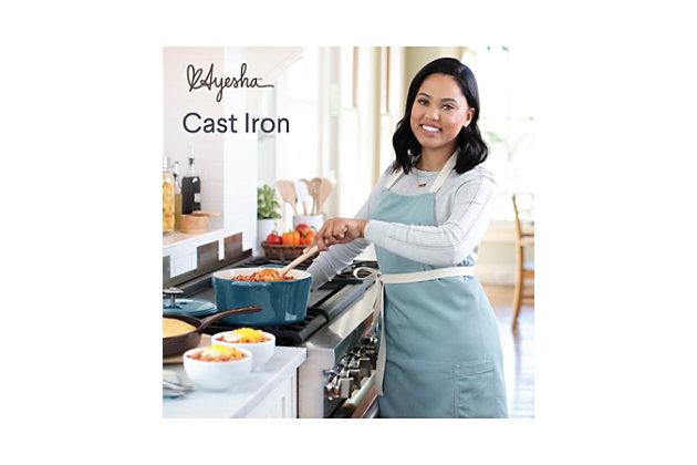 "Ayesha Curry Cast Iron 10"" Skillet w/Pour Spouts, French Vanilla Enamel Metallic Finish, French Vanilla, large"