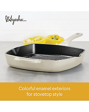 """Ayesha Curry Cast Iron 10"""" Square Grill Pan w/Pour Spouts, French Vanilla Enamel Metallic Finish, French Vanilla, large"""