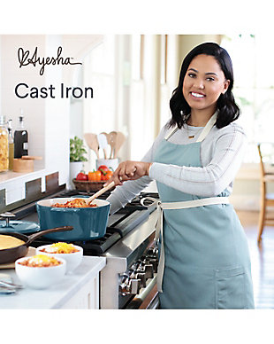 """Ayesha Curry Cast Iron 10"""" Square Grill Pan w/Pour Spouts, Twilight Teal Enamel Metallic Finish, Twilight Teal, large"""