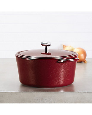 Ayesha Curry Cast Iron 6 Qt. Covered Dutch Oven, Sienna Red Metallic, Sienna Red, rollover