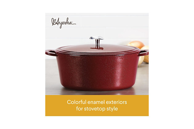 Ayesha Curry Cast Iron 6 Qt. Covered Dutch Oven, Sienna Red Metallic, Sienna Red, large