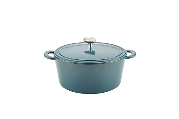 Ayesha Curry Cast Iron 6 Qt. Covered Dutch Oven, Twilight Teal Metallic, Twilight Teal, large