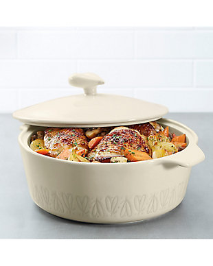 "Ayesha Curry Ceramics 2.5 Qt. Round Casserole ""Heart"" Pattern, French Vanilla, , rollover"