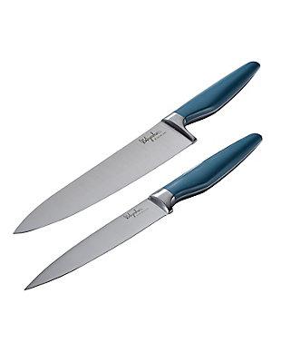 "Ayesha Curry Cutlery 2-Piece Blue Knife Set: 8"" Chef Knife w/Sheath & 6"" Utility Knife w/Sheath, Charcoal Gray, , large"