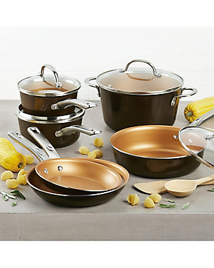 Ayesha Curry Home Collection Cookware 12 Piece Set, Brown Sugar, , rollover