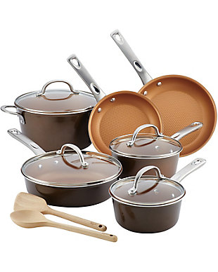 Ayesha Curry Home Collection Cookware 12 Piece Set, Brown Sugar, , large