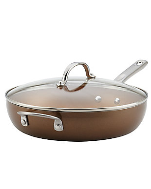"""Ayesha Curry Home Collection Cookware Brown Sugar 12"""" Covered Deep Skillet w/HH, , large"""