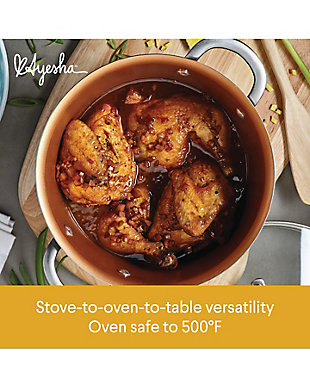 Ayesha Curry Home Collection Cookware Brown Sugar 7.5 Qt. Covered Wide Stockpot, , large