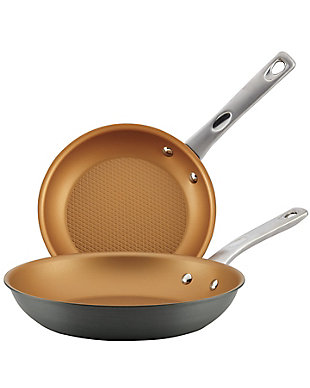 """Ayesha Curry Home Collection Cookware Hard Anodized Twin Pack: 9.25"""" & 11.5"""" Open Skillets, , large"""