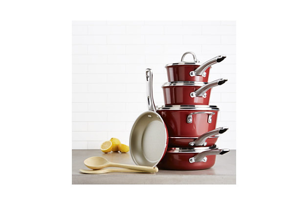 Ayesha Curry Home Collection Cookware Sienna Red 12 Piece Set, Sienna Red, large