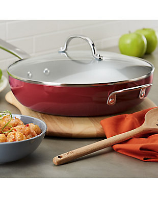 """Ayesha Curry Home Collection Cookware Sienna Red 12"""" Covered Deep Skillet w/HH, Sienna Red, rollover"""