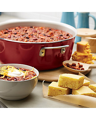 Ayesha Curry Home Collection Cookware Sienna Red 7.5 Qt. Covered Wide Stockpot, Sienna Red, rollover