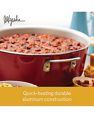 Ayesha Curry Home Collection Cookware Sienna Red 7.5 Qt. Covered Wide Stockpot, Sienna Red, large