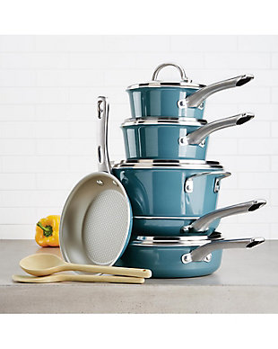 Ayesha Curry Home Collection Cookware Twilight Teal 12 Piece Set, Twilight Teal, rollover