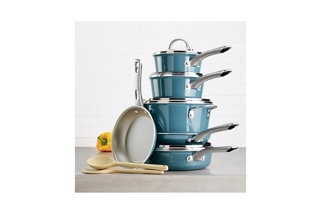 Ayesha Curry Home Collection Cookware Twilight Teal 12 Piece Set, Twilight Teal, large