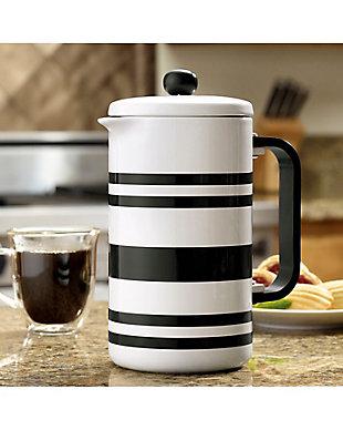 Bonjour 8-Cup Ceramic French Press, Black Stripes, Black, rollover