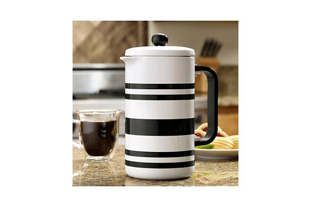 Bonjour 8-Cup Ceramic French Press, Black Stripes, Black, large