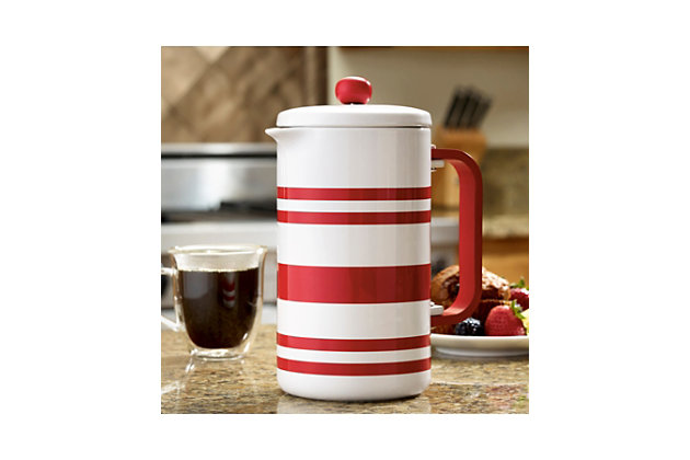 Bonjour 8-Cup Ceramic French Press, Red Stripes, Red, large