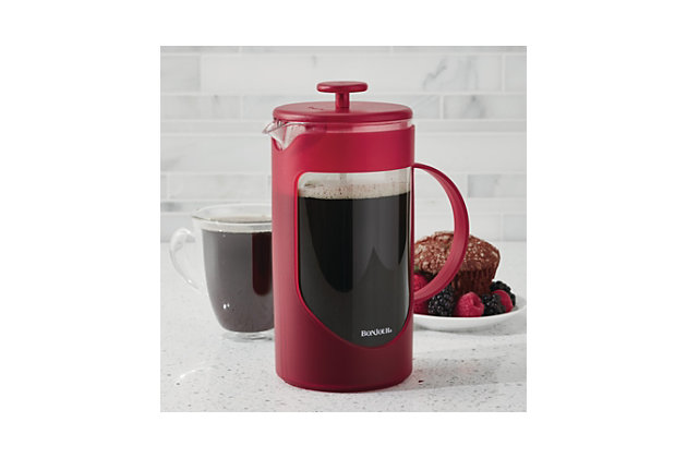 Bonjour 8-Cup Method French Press w/Lock & Toss Filter, Red, Red, large