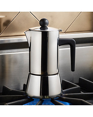 Bonjour Coffee 4-Demitasse Cup Stainless Steel (9oz) Stovetop Espresso Maker, , rollover