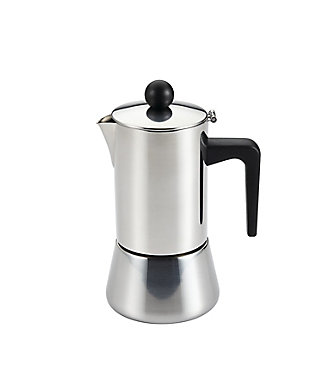 Bonjour Coffee 4-Demitasse Cup Stainless Steel (9oz) Stovetop Espresso Maker, , large