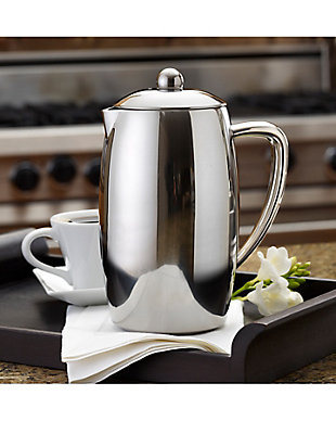 Bonjour Coffee 8-Cup Triomphe Double Wall Stainless Steel French Press w/ Shut Off Brewing System, , large