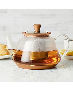 Bonjour Coffee Tea Makers 0.9 L/30 oz. Voyager Glass Teapot, Copper, Copper, rollover
