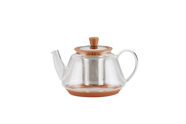 Bonjour Coffee Tea Makers 0.9 L/30 oz. Voyager Glass Teapot, Copper, Copper, large