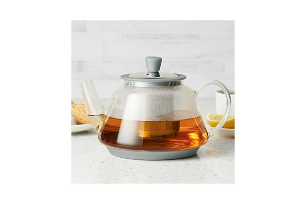 Bonjour Coffee Tea Makers 0.9 L/30 oz. Voyager Glass Teapot, Silver, Silver, large