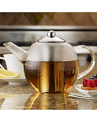 Bonjour Tea Round Glass Teapot, 34-Ounce, with Flavor Lock Infuser, , rollover