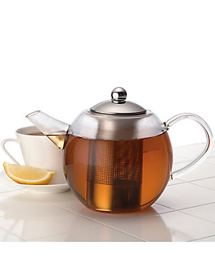 Bonjour Tea Round Glass Teapot, 34-Ounce, with Flavor Lock Infuser, , large