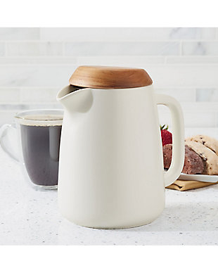 Bonjour Wayfarer Ceramic Collection 34-oz Ceramic Coffee Pot w/Stainless Steel Filter, Matte White, , rollover