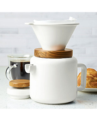 Bonjour Wayfarer Ceramic Collection 4-Cup (20 oz) Pour Over Set, White, , rollover