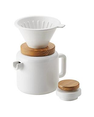 Bonjour Wayfarer Ceramic Collection 4-Cup (20 oz) Pour Over Set, White, , large