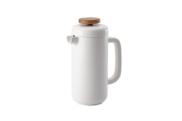 Bonjour Wayfarer Ceramic Collection 8-Cup (32 oz) Ceramic French Press, Matte White, Matte White, large