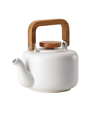 Bonjour Wayfarer Ceramic Collection 8-Cup (32 oz) Ceramic Teapot & Infuser, Matte White, Matte White, rollover