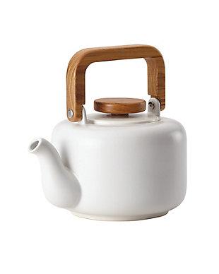 Bonjour Wayfarer Ceramic Collection 8-Cup (32 oz) Ceramic Teapot & Infuser, Matte White, Matte White, large