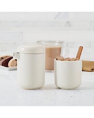 Bonjour Wayfarer Ceramic Collection Sugar & Creamer Set, Matte White, Matte White, rollover