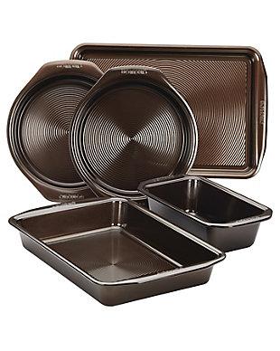 "Circulon Bakeware 5-Piece Bakeware Set: 10"" x 15"" Cookie Pan, (2) Cake Pans, 9"" Loaf Pan, 9"" x 13"" Cake Pan, Chocolate, Chocolate, large"